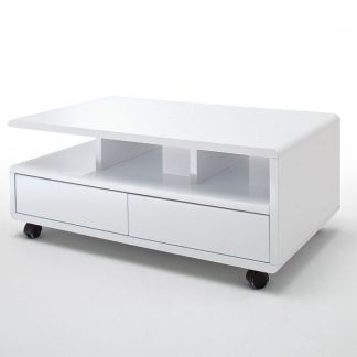 Biały nowoczesny stolik kawowy chris na kółkach / 100x60 cm