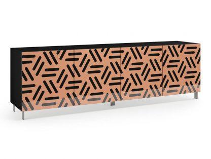 Nowoczesna komoda calisia beżowo-czarna z motywem geometrycznym / szer. 240 cm