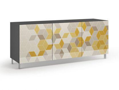 Nowoczesna komoda calisia szaro-beżowo-żółta z motywem geometrycznym / szer. 180 cm