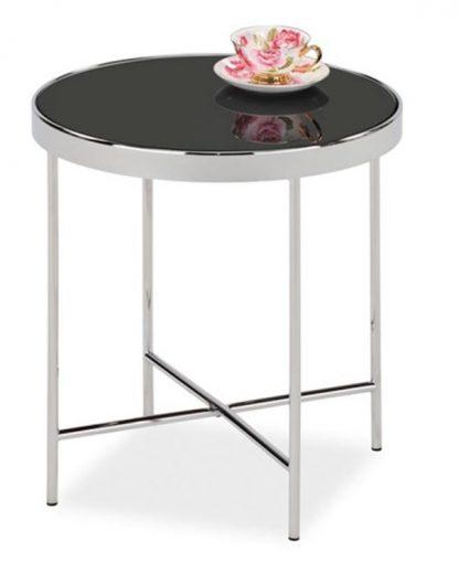 Okrągły stolik kawowy gina c czarny-chrom 43 cm