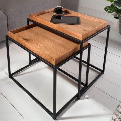 Prostokątny stolik kawowy elements z dębowym blatem / zestaw 2 szt.