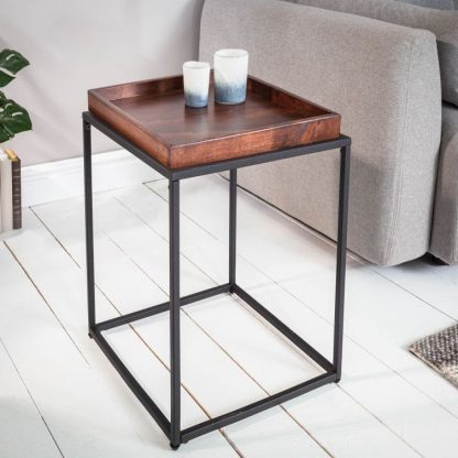 Kwadratowy stolik kawowy elements z bukowym blatem / 40x40 cm