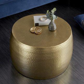 Stolik kawowy z młotkowanego aluminium optik / złoty 60 cm