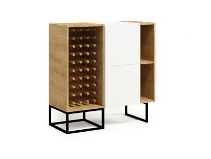 Nowoczesna komoda z szafką na wino box steel / szer. 100 cm