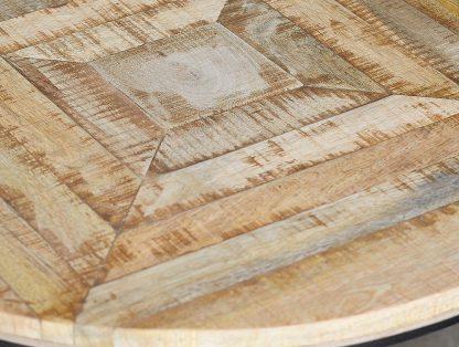 Okrągły stolik kawowy mango z drewnianym blatem / zestaw 3 szt.