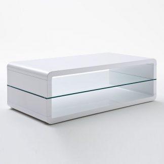 Biały nowoczesny stolik kawowy agatha ze szklaną półką / 120x60 cm