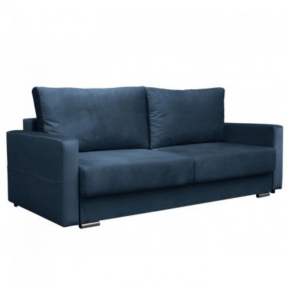 Nowoczesna rozkładana sofa paola z funkcją spania i pojemnikiem na pościel