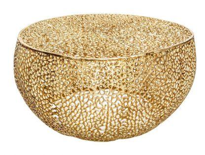 Designerski stolik kawowy leaf / złoty 80 cm