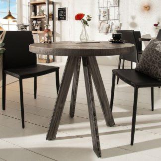 Okrągły stół do jadalni iron craft / szary blat z drewna mango