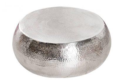 Stolik kawowy z młotkowanego aluminium optik / srebrny 80 cm