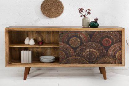 Drewniana komoda mandala 160 cm z przesuwnymi drzwiczkami