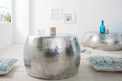 Stolik kawowy z młotkowanego aluminium optik / srebrny 60 cm