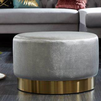 Elegancki puf modern barock szaro-złoty 55 cm