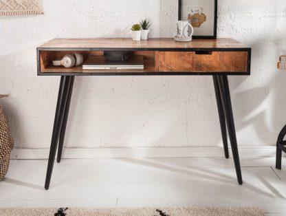 Drewniane biurko industrial w stylu retro (120 cm)