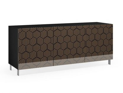 Nowoczesna komoda calisia czarno-beżowa motywem geometrycznym / szer. 180 cm