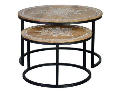 Drewniany stolik alhena ręcznie malowany / zestaw 2 szt.