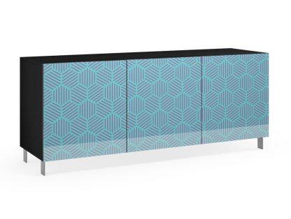Nowoczesna komoda calisia niebiesko-beżowa z motywem geometrycznym / szer. 180 cm