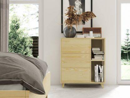 Komoda drewniana sosnowa visby viveca 3s z trzema szufladami