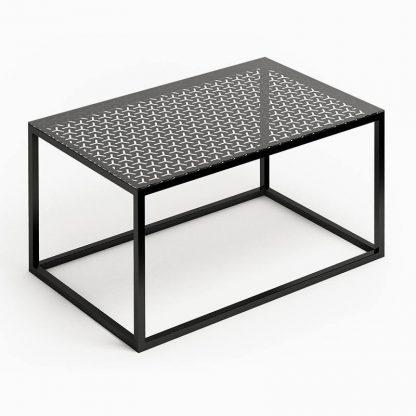 Nowoczesny stolik kawowy glast i ze szklanym blatem / 80x50 cm