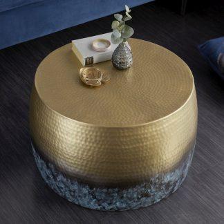 Stolik kawowy z młotkowanego aluminium optik / podpalany złoty 60 cm