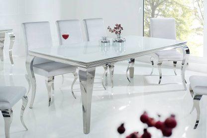 Modern barock elegancki stół do jadalni w stylu glamour z białym blatem i srebrnymi nogami 200 cm