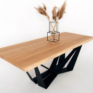 Nowoczesny dębowy stół ingram na metalowych nogach / 180x90 cm