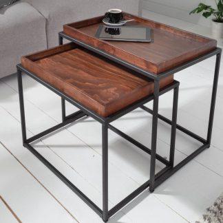 Prostokątny stolik kawowy elements z bukowym blatem / zestaw 2 szt.