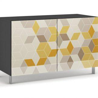Nowoczesna komoda calisia szaro-beżowo-żółta z motywem geometrycznym / szer. 120 cm