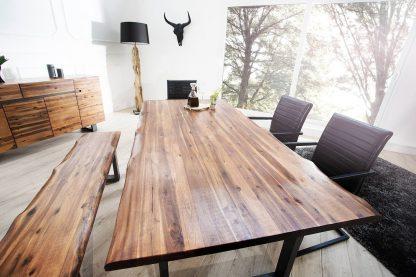 Stół z drewnianym blatem i metalowymi nogami genesis / 200 cm