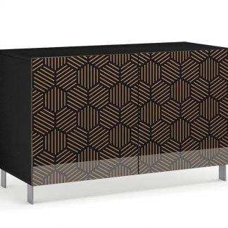 Nowoczesna komoda calisia czarno-beżowa z motywem geometrycznym / szer. 120 cm