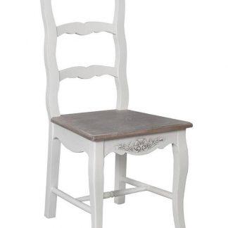 Białe drewniane krzesło ravenna w prowansalskim stylu