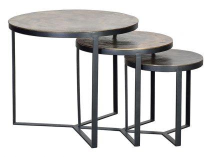 Metalowy okrągły stolik bronce / zestaw 3 szt.