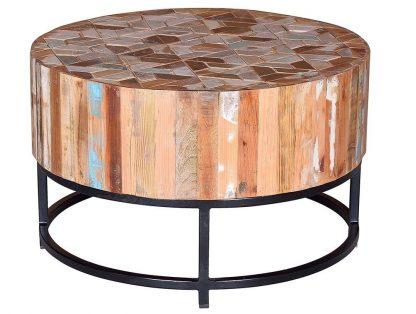 Okrągły stolik kawowy barril na metalowej podstawie