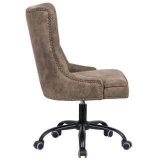 Tapicerowane krzesło biurowe victorian brązowe