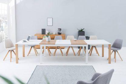 Nowoczesny rozkładany stół goliath biało-dębowy 180-420cm