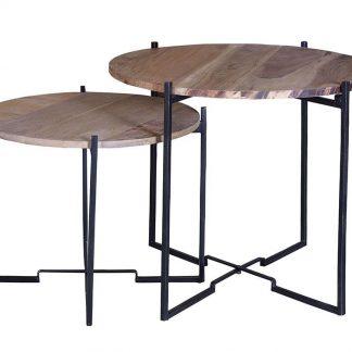 Okrągły stolik kawowy hiero z drewnianym blatem / zestaw 2 szt.