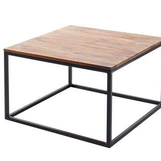 Stolik kawowy fusion z drewnianym blatem 70x70 cm