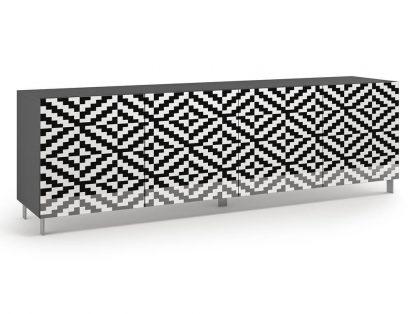 Nowoczesna komoda calisia biało-czarna z motywem geometrycznym / szer. 240 cm