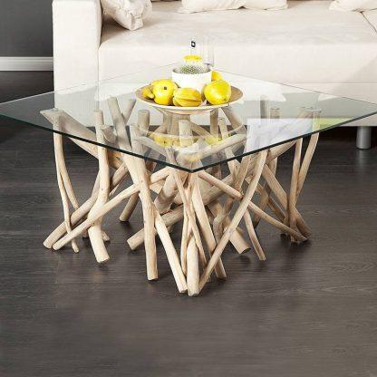 Stolik kawowy ze szklanym blatem driftwood / 80 cm naturalny