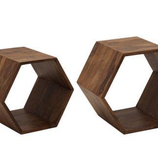 Drewniana komoda hexagon w kształcie sześciokąta (zestaw 2 szt.)