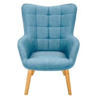 Niebieski fotel tapicerowany scandinavia w skandynawskim stylu