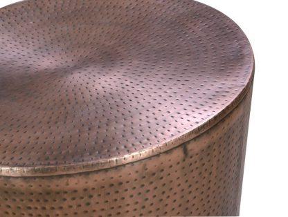 Okrągły stolik miedziany tambor