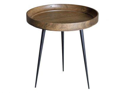Okrągły stolik kawowy palo z drewnianym blatem i metalowymi nogami / wys. 40 cm