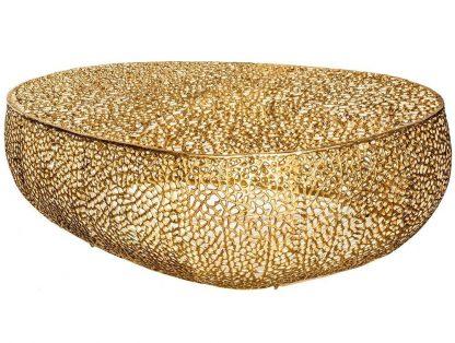 Designerski stolik kawowy leaf / złoty 122 cm