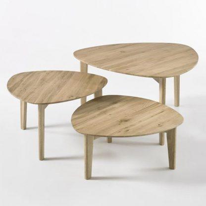 Drewniany dębowy stolik kawowy camilla / zestaw 3 stolików