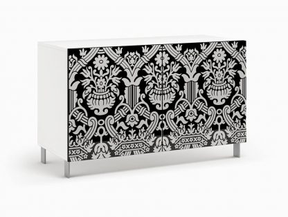 Nowoczesna komoda calisia biało-czarna z motywem florystycznym / szer. 120 cm
