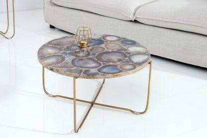 Okrągły stolik onyx z blatem z kamienia agatu