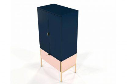 Wysoka elegancka granatowo-różowa komoda skandica polka na złotych nóżkach