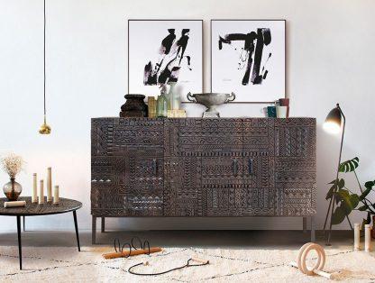 Drewniana komoda chichita ręcznie rzeźbiona / szer. 150 cm