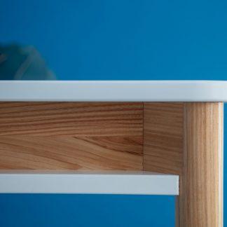 Biały rozkładany stół zeen z półką pod blatem
